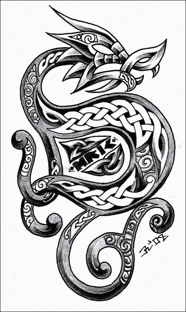 I Like The Intricacy Here But Not The Head Of The Dragon Viking Dragon Tattoo Celtic Dragon Tattoos Dragon Tattoo Designs