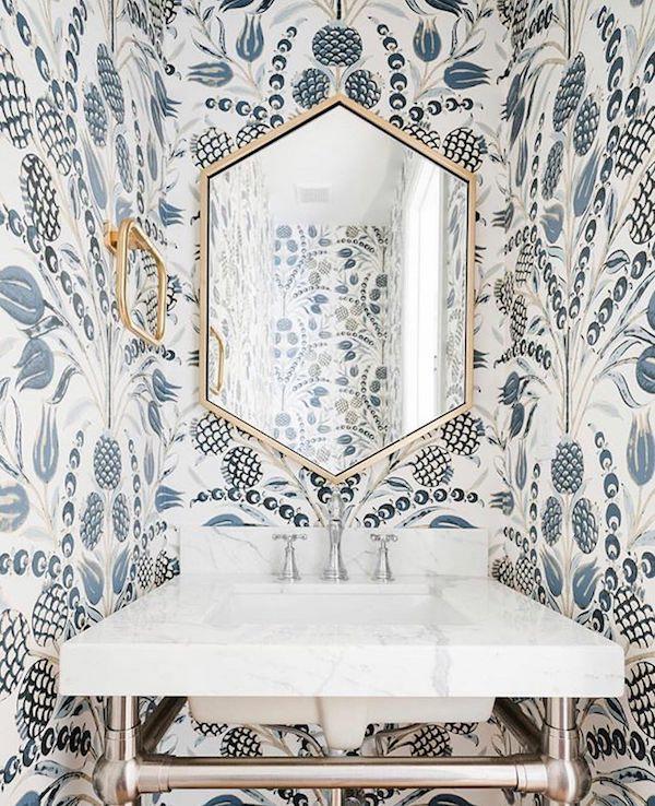 How To Make A Small Bathroom Look Bigger The Zhush Smallbathroom Powder Room Wallpaper Wallpaper Ceiling Room Wallpaper