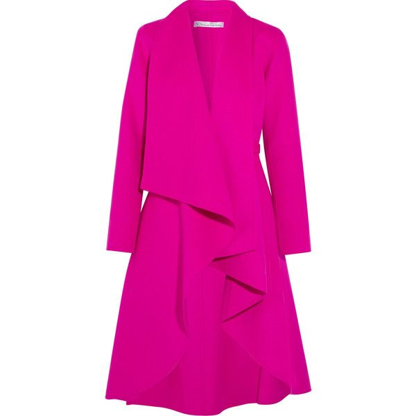 Oscar de la Renta Draped brushed wool and cashmere-blend coat ($3,990) ❤ liked on Polyvore featuring outerwear, coats, bright pink, pink coat, wool coat, waterfall drape coat, ruffle coat and pink ruffle coat