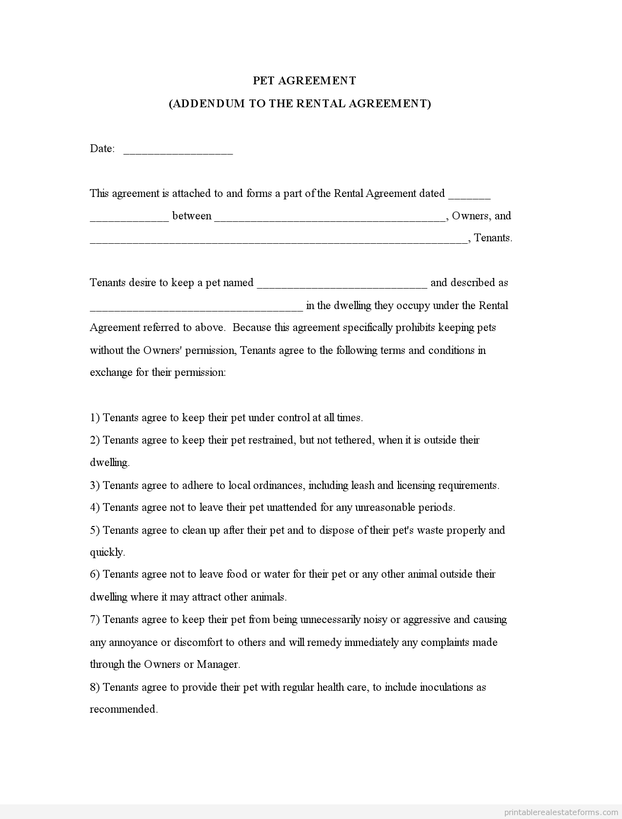 Sample Printable Pet Agreementm Addendum To The Rental Agreement