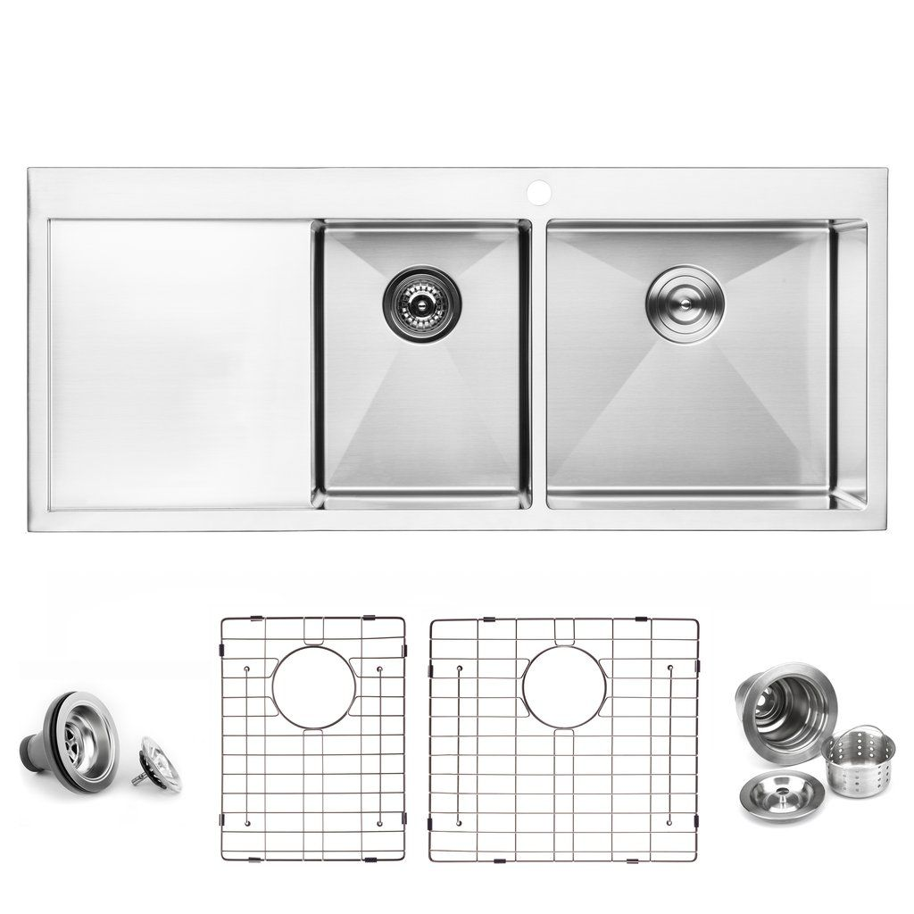 Bai 1234 Stainless Steel 16 Gauge Kitchen Sink Handmade 48 Inch Top Mount Double Bowl With Drainboard Kitchen Sink Stainless Steel Kitchen Sink Kitchen Sink Strainer