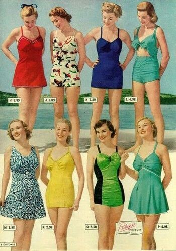 7221c7db6b Late 1930s swimsuits. Notice more raching at the bust, wider skirts, and a  bit of tummy showing in the upper right.