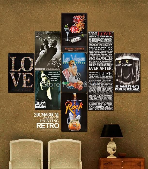 whosale love letter iron painting Tin Sign Bar pub home Wall Decor Retro Metal Art Poster  Free Shipping $45