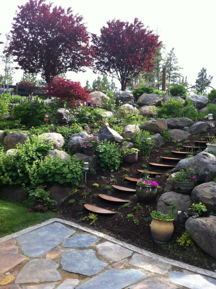 stone landscape landscaping a slope pinterest gardens stone patios and the o 39 jays. Black Bedroom Furniture Sets. Home Design Ideas