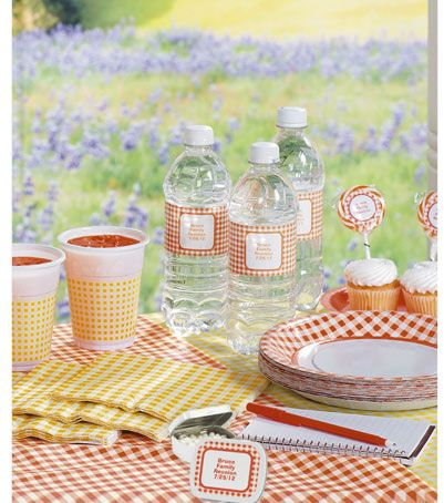 Gingham party supplies from Oriental Trading Company!