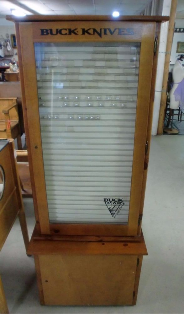 Awesome Vintage Buck Knife Swivel Store Display Cabinet 2 Sided Glass Doors