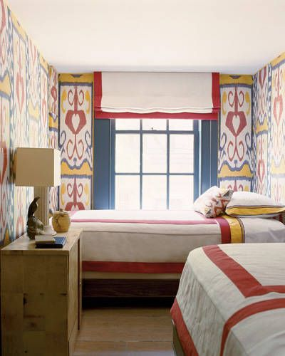Steven Gambrel West Village Home Interior Design - ELLE DECOR...vintage ikat wallcovering from Uzbekistan