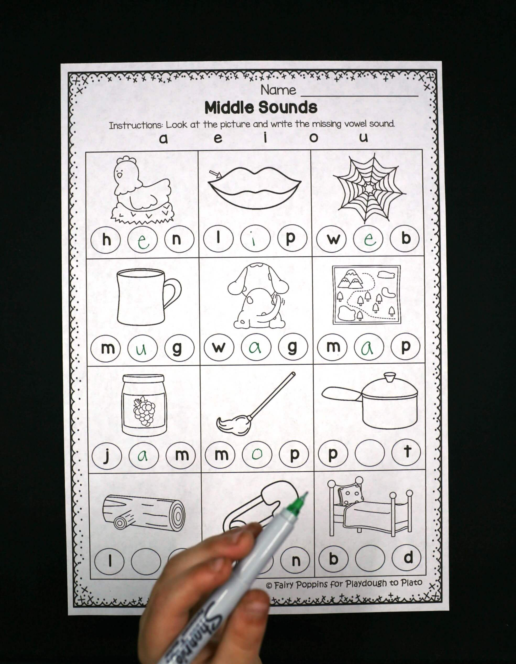 Middle Sounds Worksheets