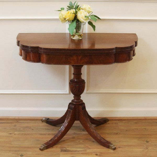 Vintage Duncan Phyfe Mahogany Fold Top Console Game Table Duncan Phyfe Furniture Renovation Table Games