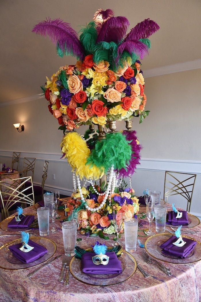 Mardi Gras Guest Table From A 70th Birthday Party On Karas Ideas