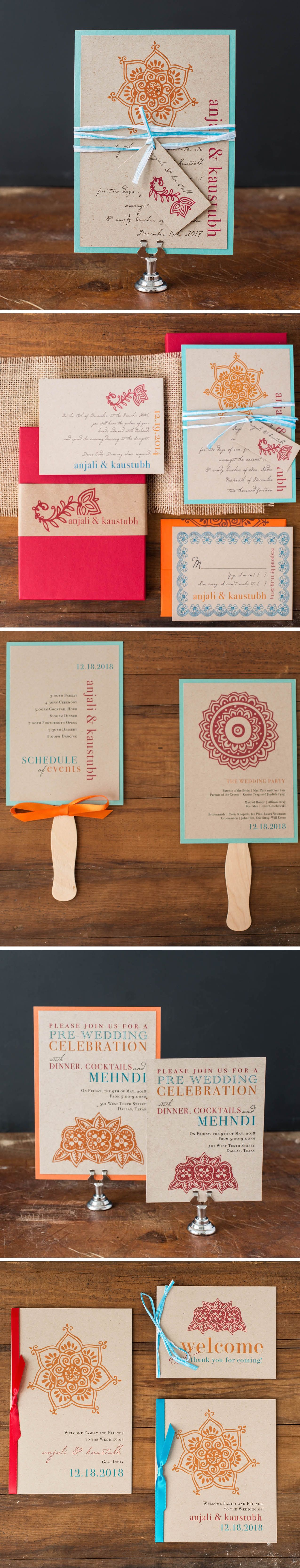 Customize these modern Indian wedding invites to