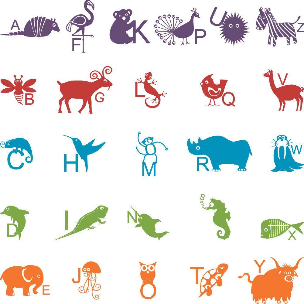 Animal ABC Wall Vinyl Decals Art Graphics Stickers. $50.00, via Etsy.