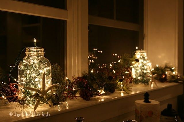 Christmas Window Display Ideas | Simple but gorgeous window decorations  made using mason jars and fairy . - Using Christmas Window Lights For Festive Home Displays
