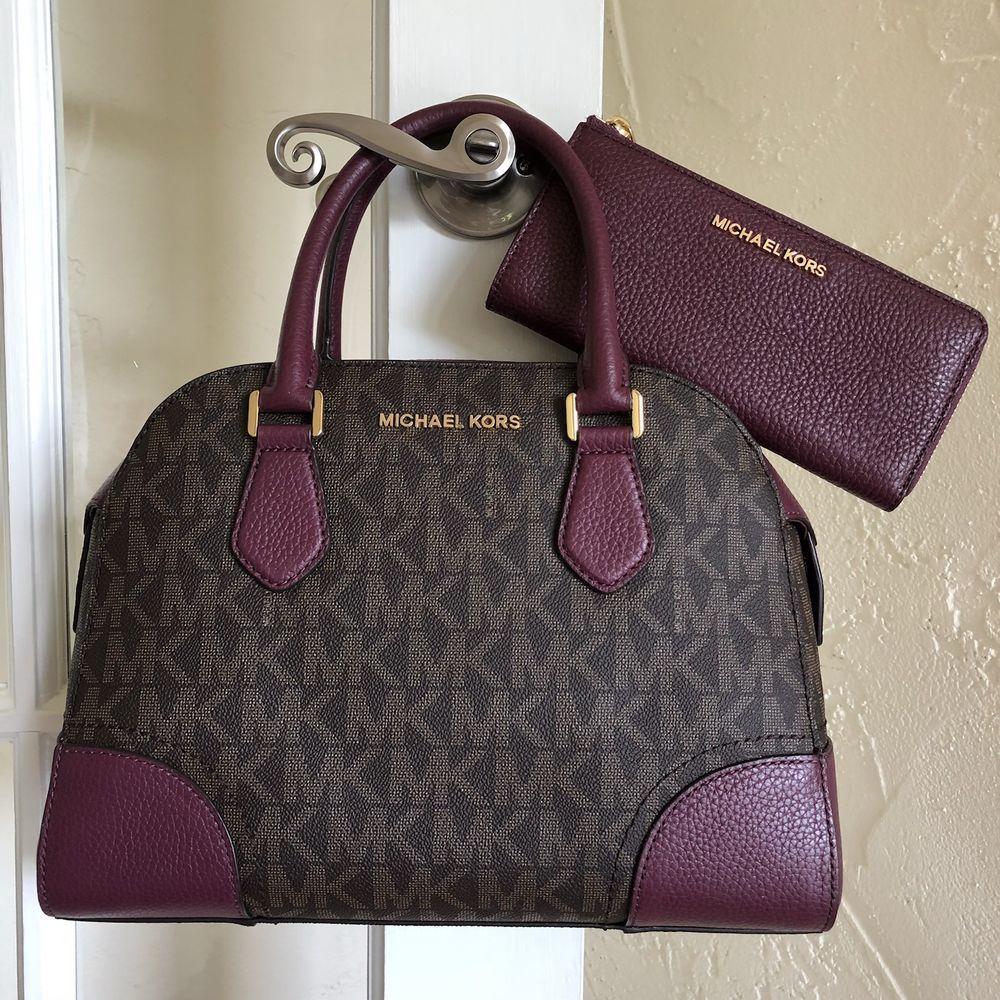 a2f352d4e94396 Michael Kors Hattie Bowling Bag Satchel & Wallet SET Brown Plum | eBay