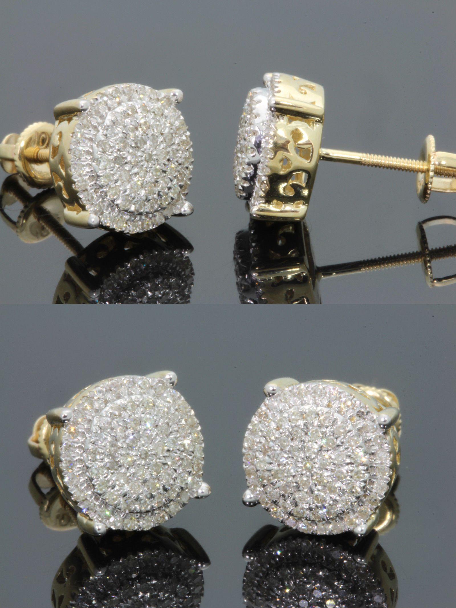 Earrings Studs 14085 50 Carat Mens Womens Yellow Gold Finish 10 Mm 100