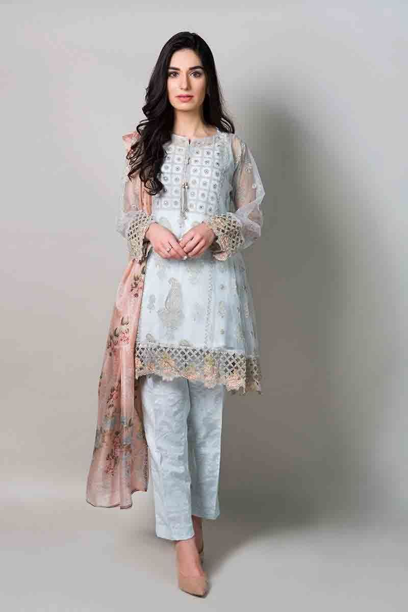 50c290313eef new sky blue short shirt with matching dupatta and trousers latest maria b fancy  party wear eid dresses 2017 with price for girls