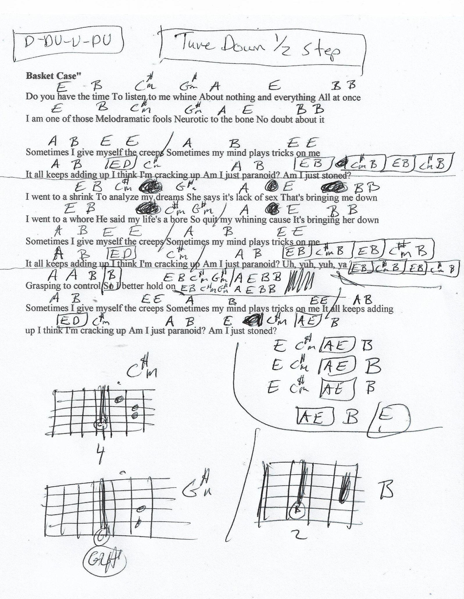 Basket Case Green Day Guitar Chord Chart   Tune Down 15/15 step ...
