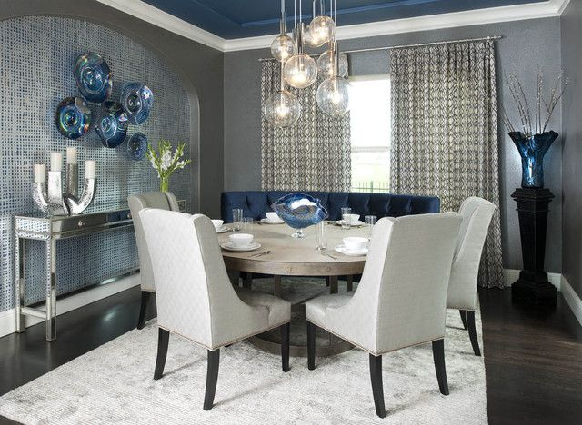 20 Admirable Dining Room Designs With Wooden Circular Tables Dining Room Blue Elegant Dining Room Dining Room Contemporary