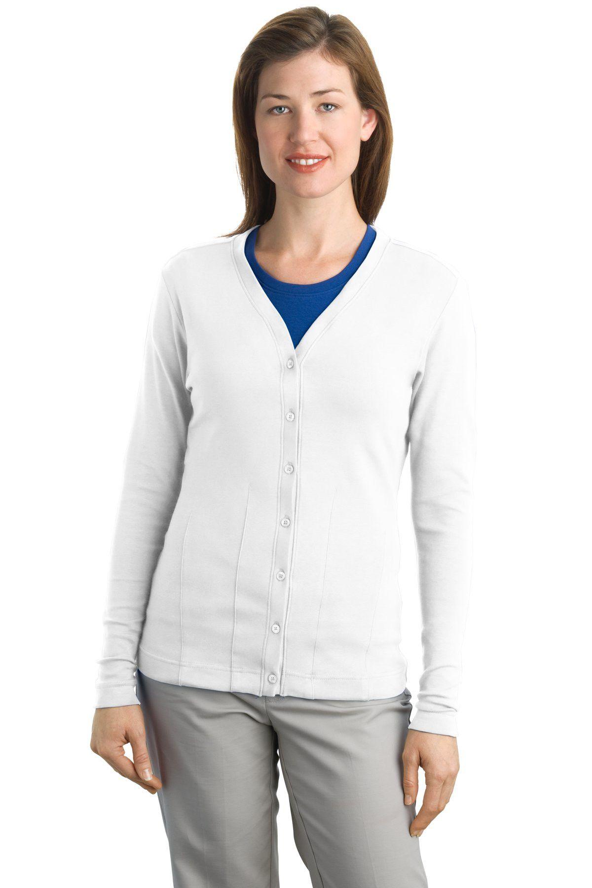 Port Authority Ladies Modern Stretch Cotton Cardigan. L515 White ...