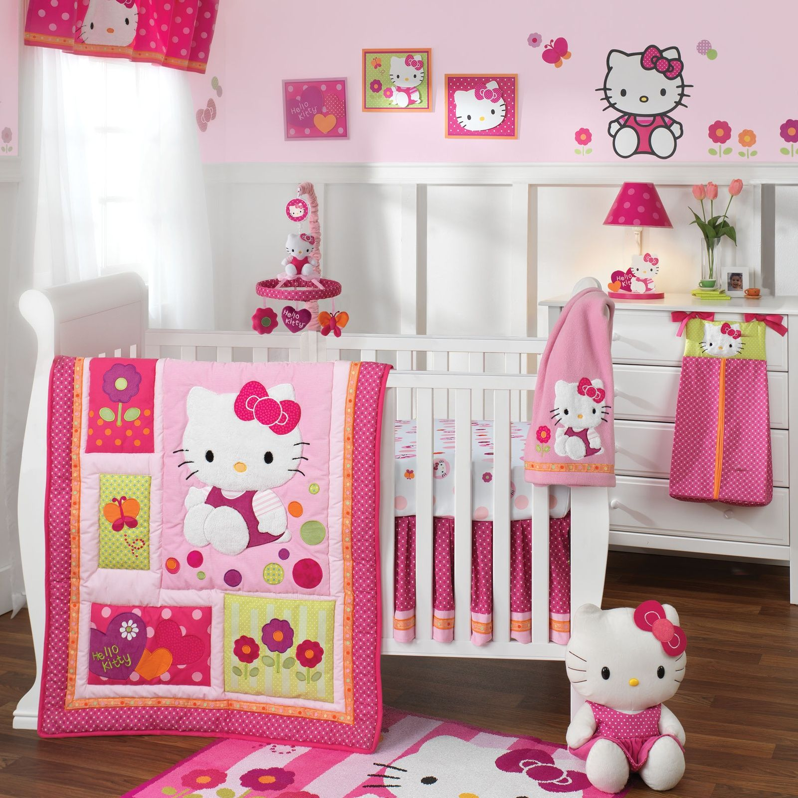 Baby room decorations - Colorful Wall For Kid Bedroom Decorating Ideas With Awesome And Modern Furniture Cute Hello Kitty