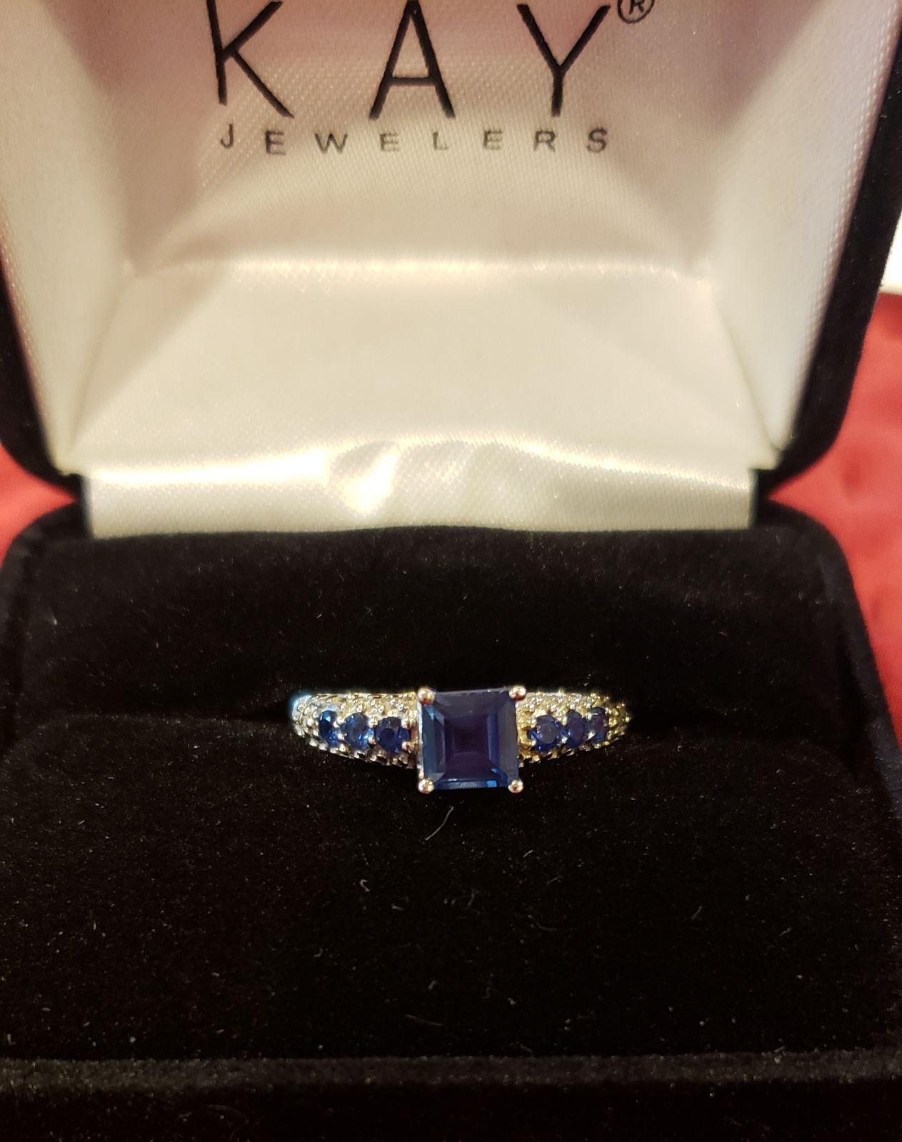Worn Once Like New Kay Jewelers 10k White Gold Lab Created Sapphire Ring Size 6 5 Kay Jewelers Rings Blue Rings Kay Jewelers