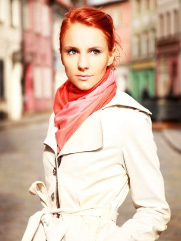 Bright scarf with neutral coat