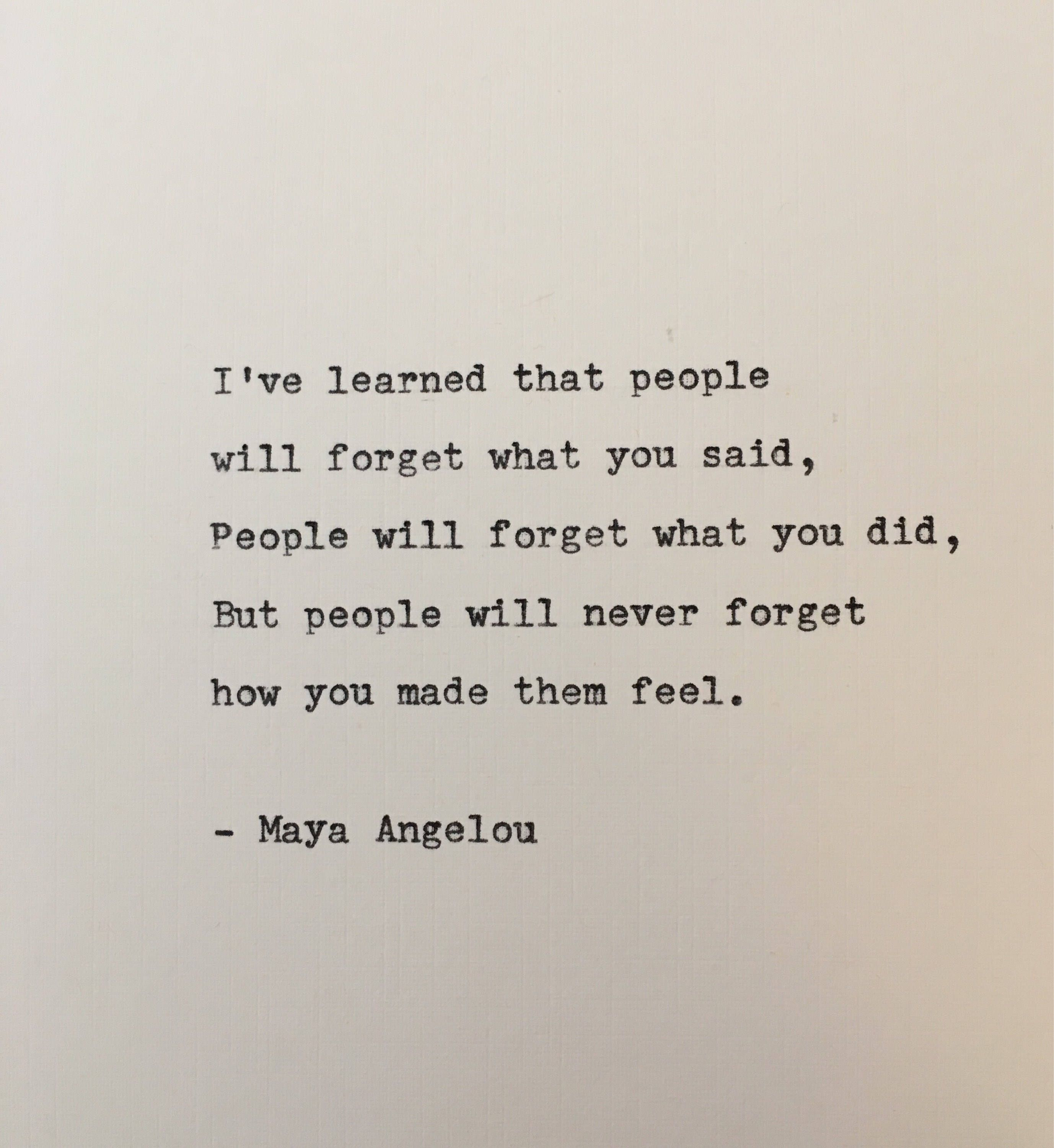 Maya Angelou quote typed on typewriter  unique gift | Etsy