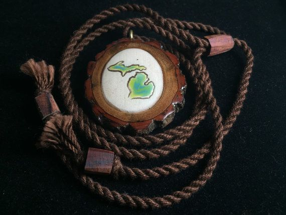 Michigan pendant/ wooden pendant/ handmade by OKAVARKpendants