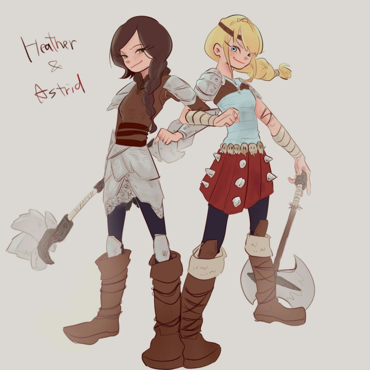 heather and astrid art rtte | How to train your dragon