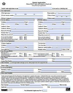 rental property application template