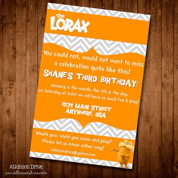 Lorax Movie Printable Birthday Invitation with by AtkinsonDrive - birthday invitation backgrounds