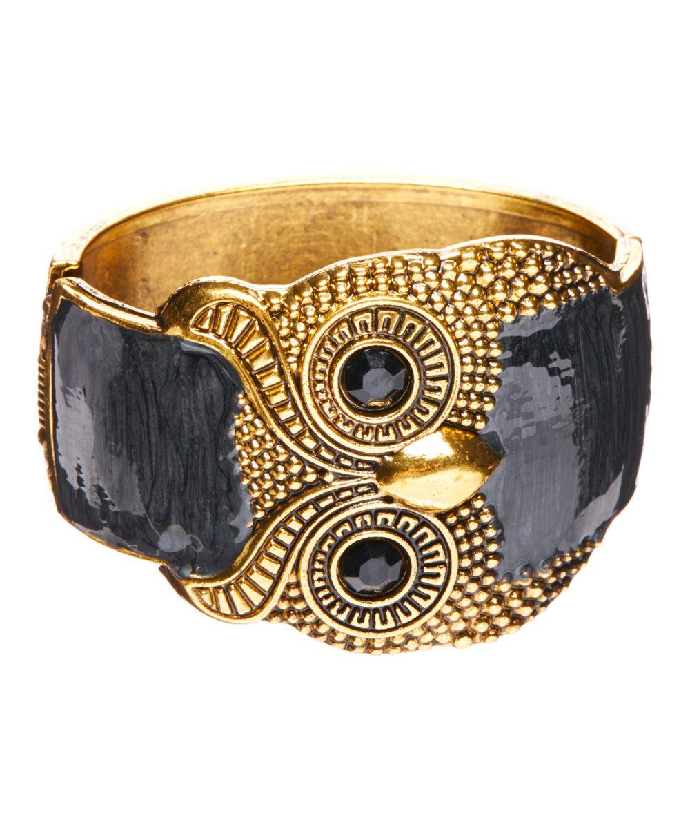 Black & Goldtone Owl Bangle | zulily