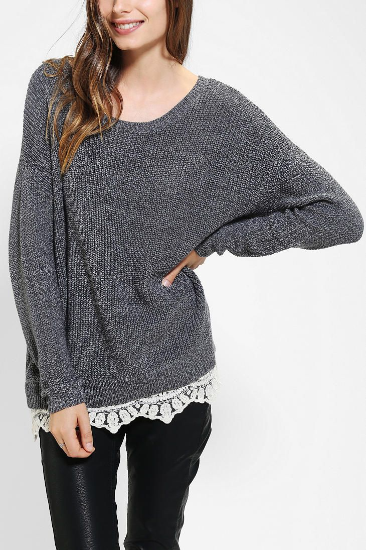 Pins And Needles Lace-Trim Sweater | wear | Pinterest | Lace trim ...