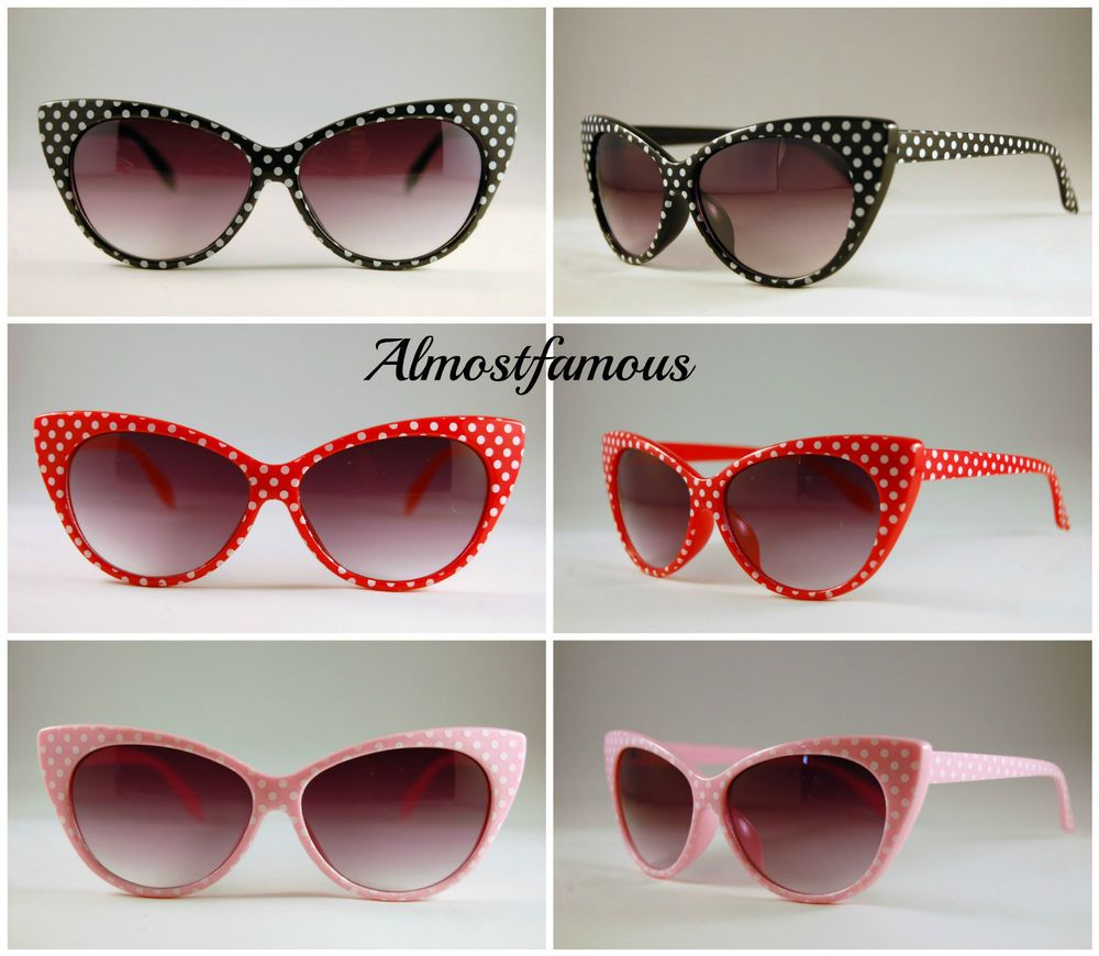 Cateye Polka Dot Sunglasses Cat Eye 50s 60s Style Fashion