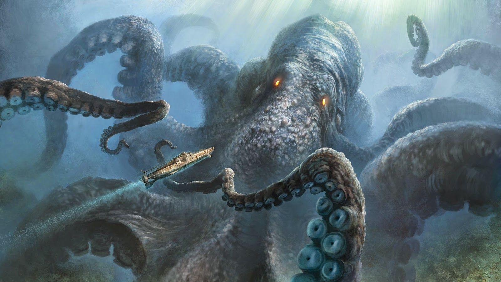A Giant Octopus Is A Timeless Deep Sea Terror Sea Monsters Kraken Sea Creatures