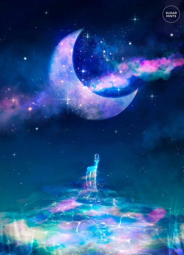 Moon River By Sugarmints Beautiful Fantasy Art Fantasy Posters Galaxy Art Fantasy anime moon wallpaper