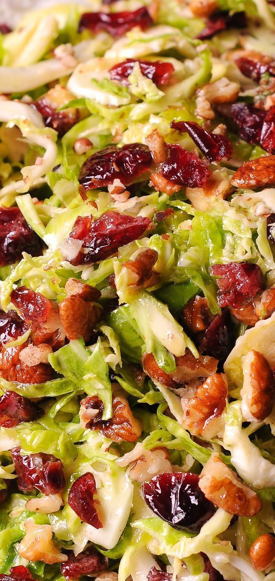 Brussels Sprouts Cranberry Pecan Salad