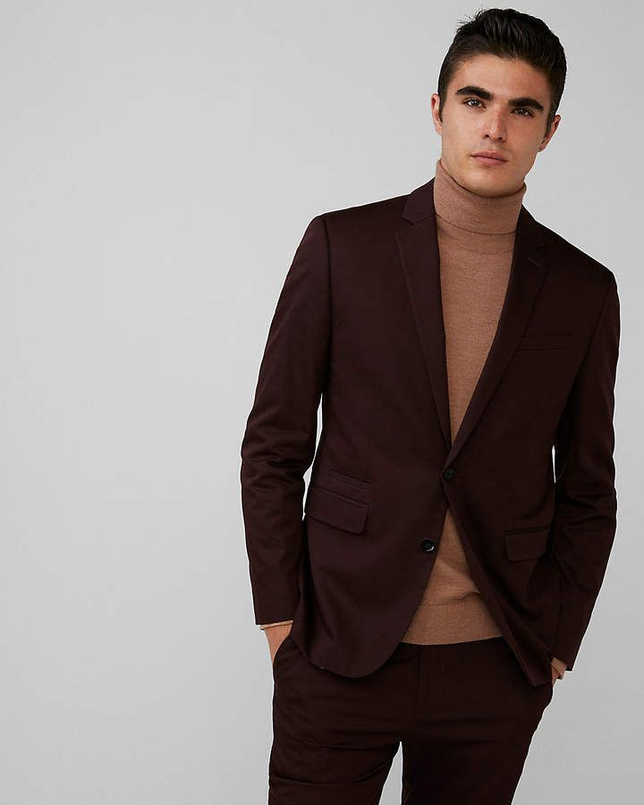 e57c42bffb6a53 Express Slim Burgundy Cotton Sateen Suit Jacket | Look & Outfit ...