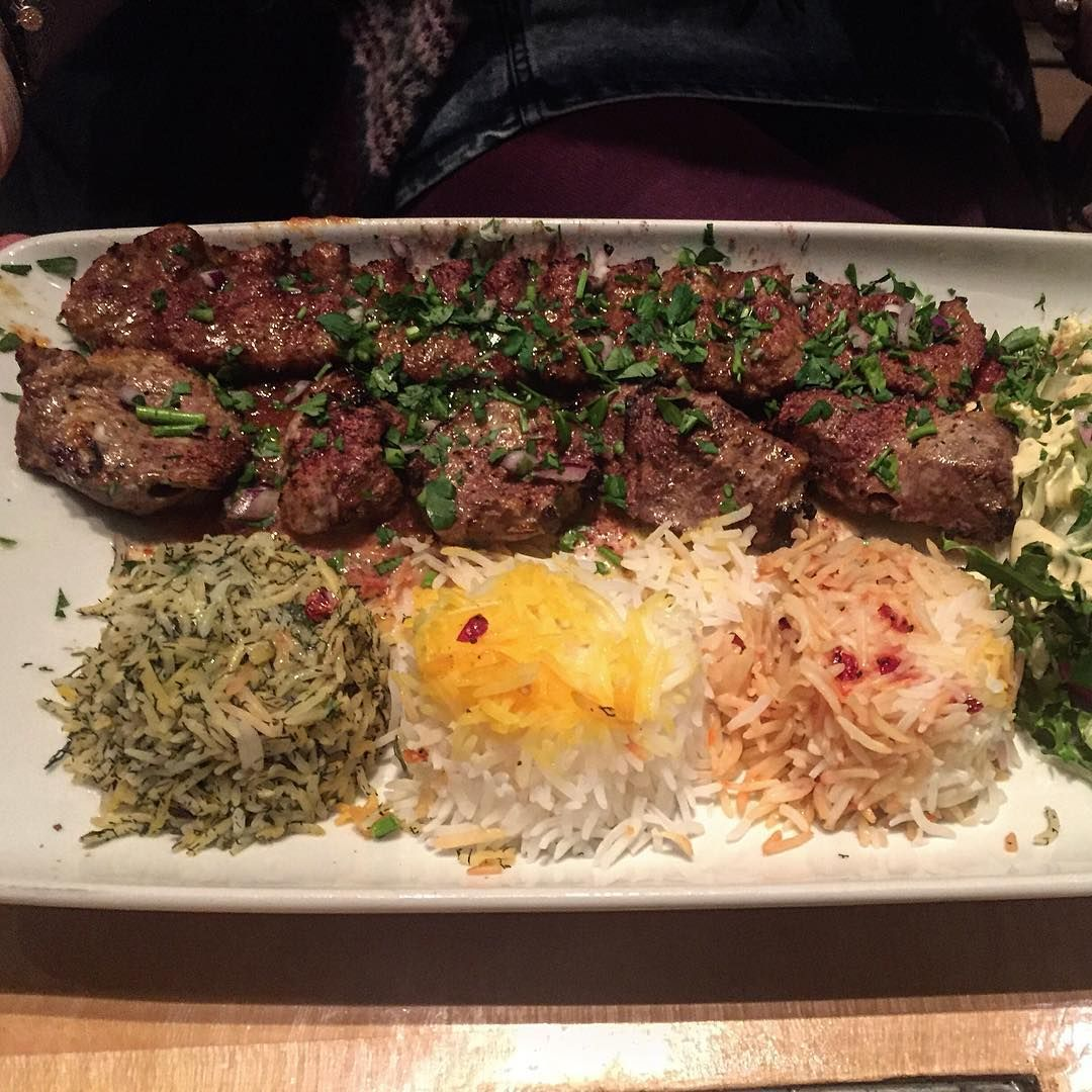 Sultani persian dish with a minced and diced lamb kebab for Ahmads persian cuisine