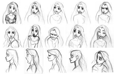 Tangled Concept Art (character face expressions') -  Glen Keane sketches.