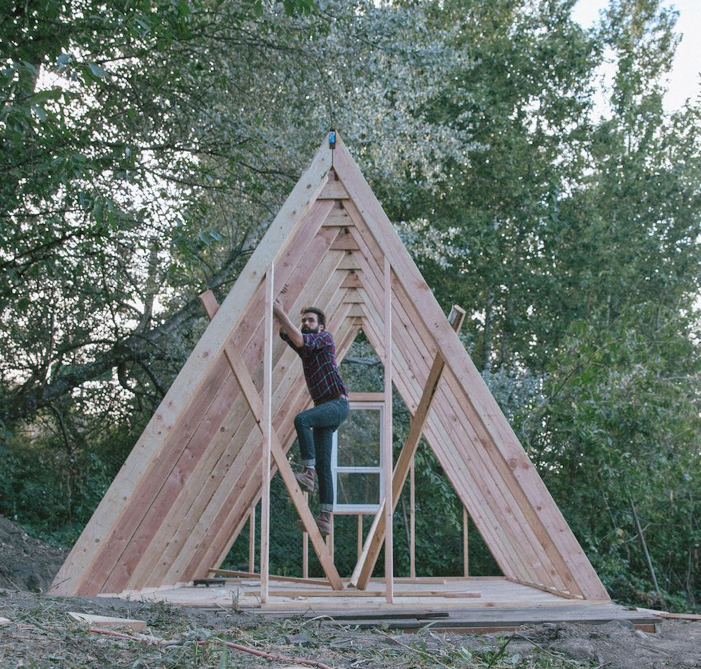 Uo journal how to build an a frame cabin designed for Small a frame cabin plans with loft