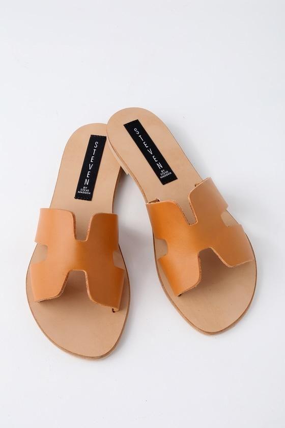 Lulus Greece Leather Slide Sandal Heels - Lulus oNkmR