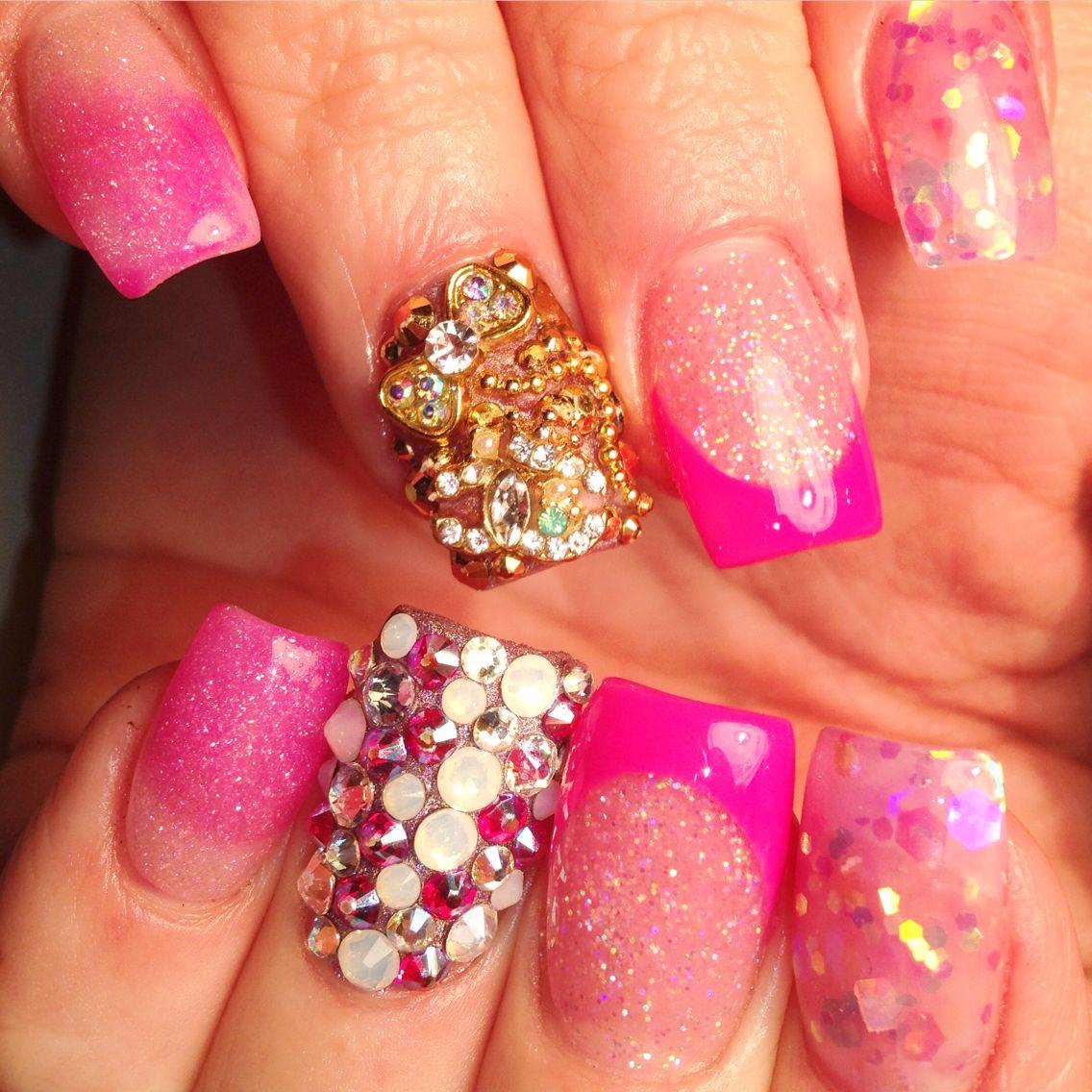 #acrylic #gel #junknail #bling #ombre #glitter
