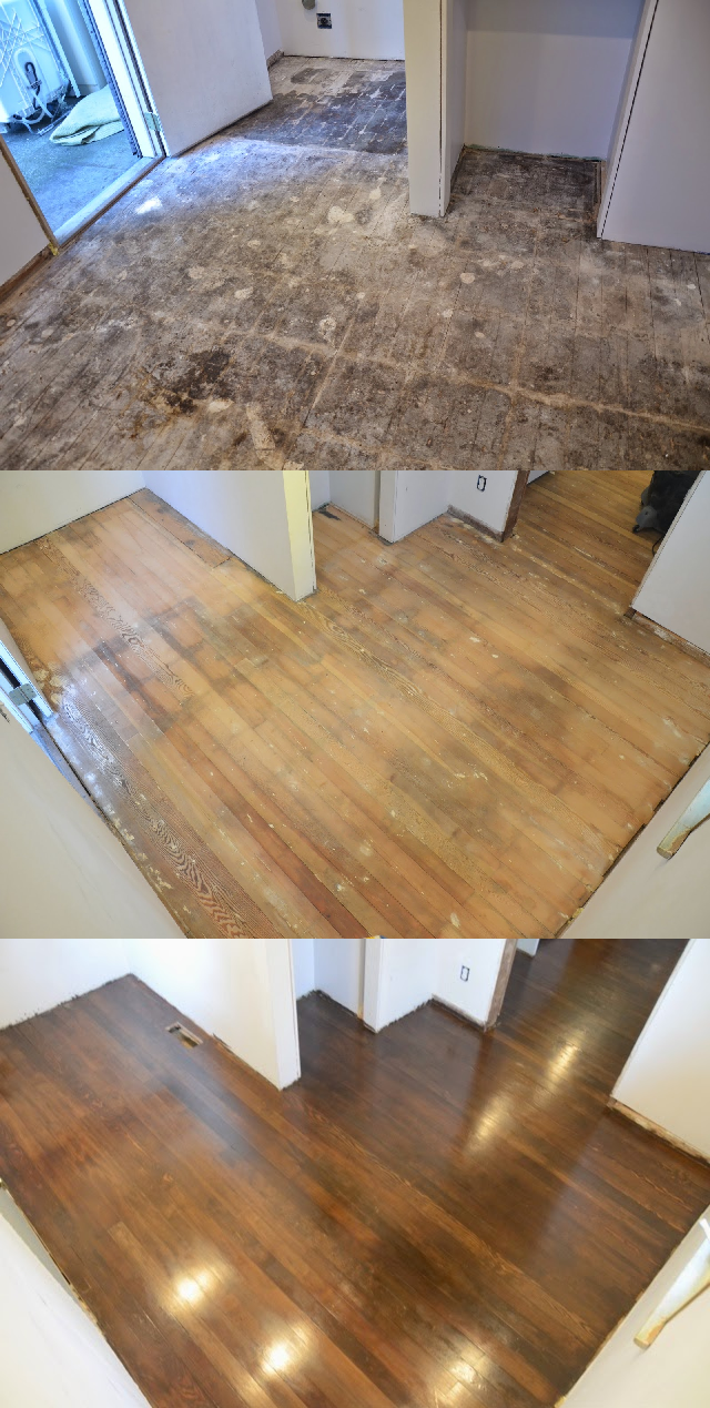 how to refinish old fir floors we discovered 75 year old fir floors underneath the linoleum in. Black Bedroom Furniture Sets. Home Design Ideas