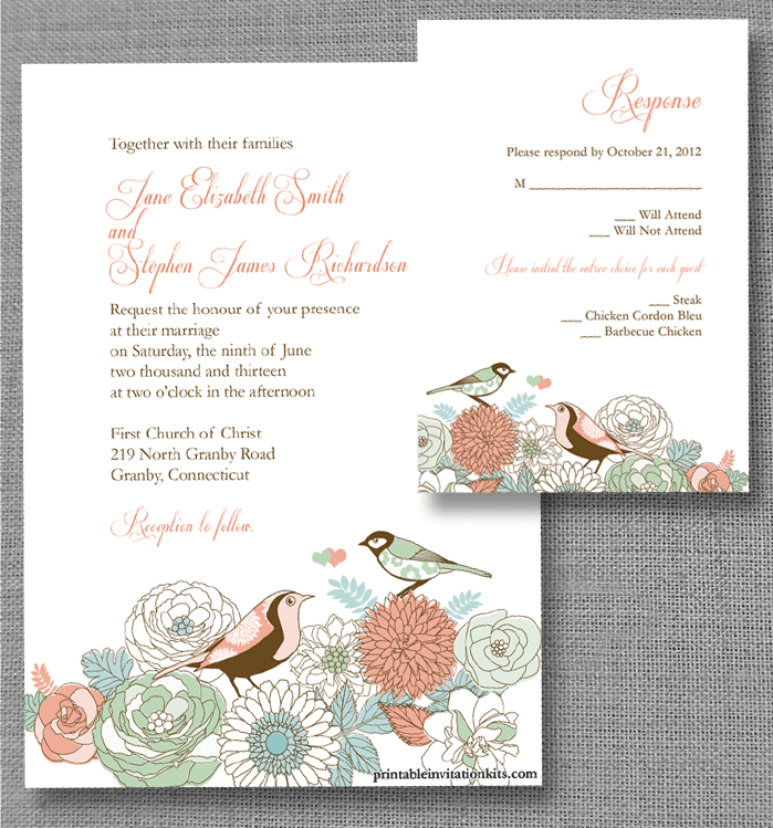 FREE PDF Download. Vintage Birds Invitation and RSVP. Template is ...