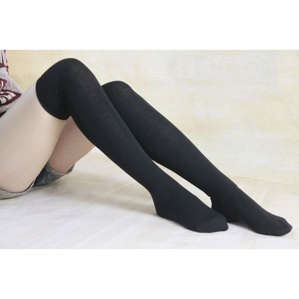 50% off Black Cotton Thigh High Socks Leg Warmers Over Knee Sock For... ($9.99) ❤ liked on Polyvore
