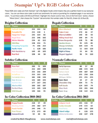 Tuesday Tool Tip Rgb Codes For Stampin Up Colors Stampin Up