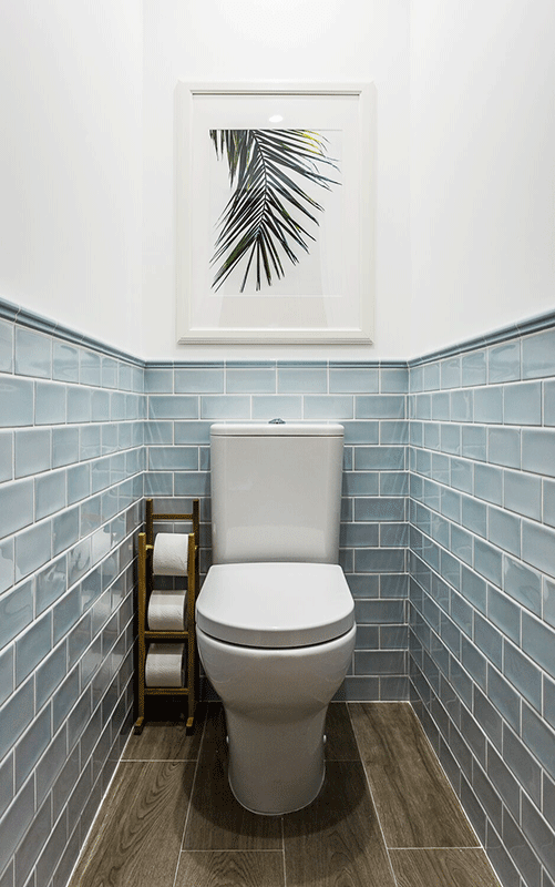 toilet design, guest bathroom, blue tiles, Anna Kovalchenko Interiors #downstairsloo