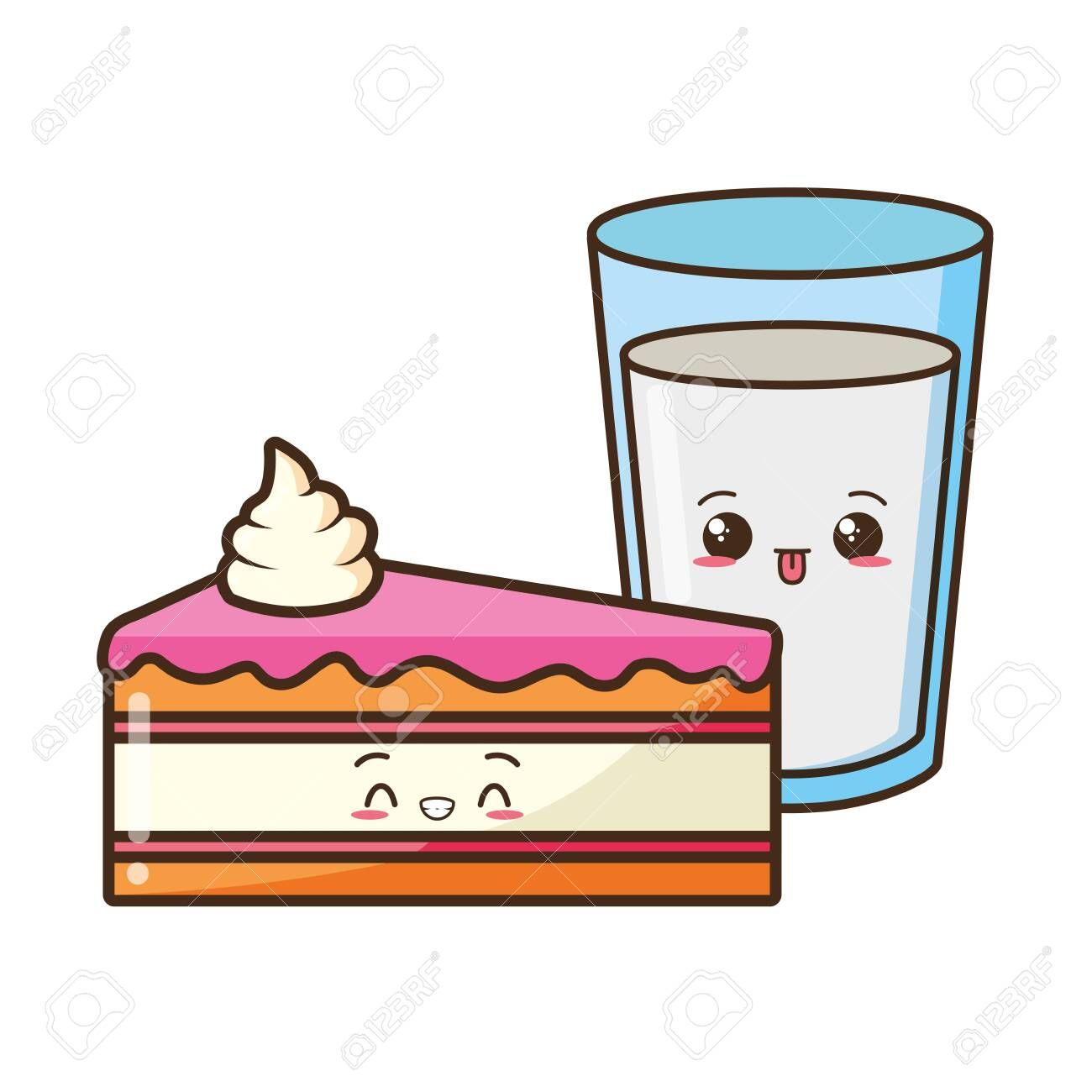 kawaii cake and milk food cartoon vector illustration ,