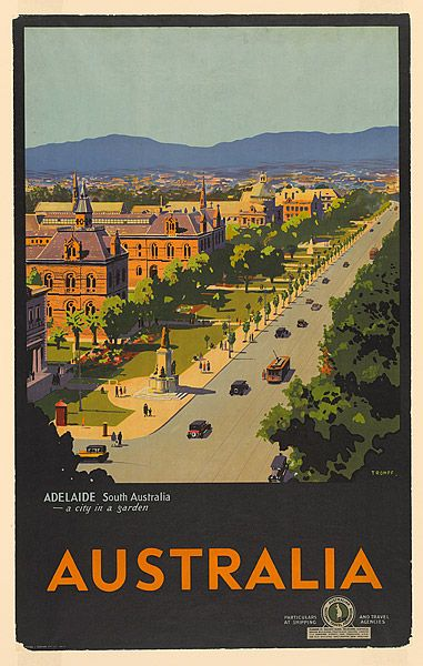 Adelaide South Australia A City In A Garden Australia Posters Australia Tourism Poster Travel Posters